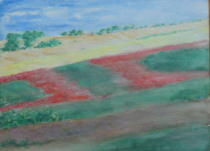 """Painting titled """"Spainscape"""" by Sieglinde (Siggy) Margarete Schitter, Original Art, Watercolor"""
