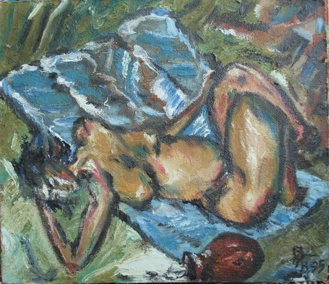 Женщина лежит - Painting,  31x35 cm ©1995 by Речицкий -                            Figurative Art, nirvana