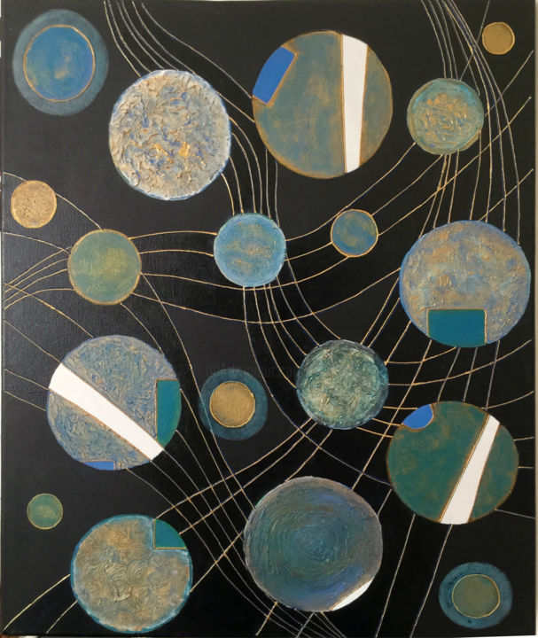The Web of Worlds I - Painting,  50x70x1.5 cm ©2018 by Silvana Klaric -                                                        Abstract Art, Canvas, Abstract Art