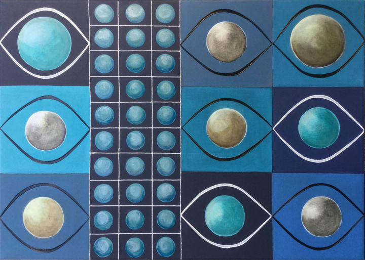 Linked Worlds I - Painting,  50x70x1.5 cm ©2018 by Silvana Klaric -                                                        Abstract Art, Canvas, Abstract Art
