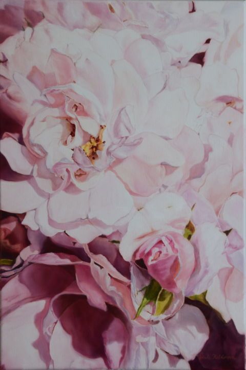 """Painting titled """"Roses"""" by Silvia Habánová, Original Art, Oil Mounted on Stretcher frame"""