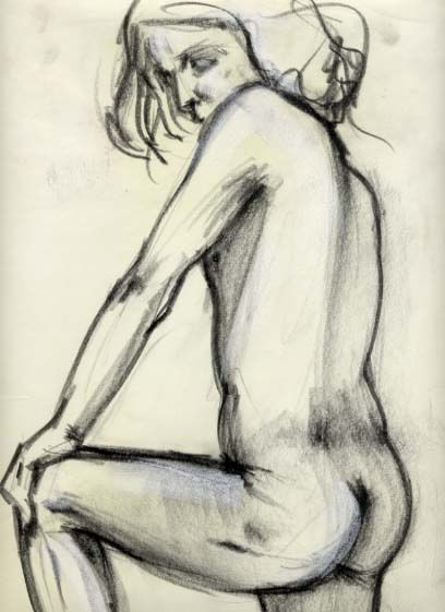 nudo a carboncino - Painting,  27.6x19.7 in, ©2009 by Silvia Benfenati -                                                                                                                                                                          Classicism, classicism-933, nudo di spalle