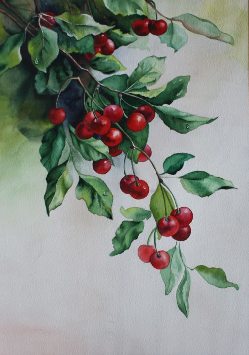 """Painting titled """"sour cherry"""" by Siminkalo, Original Art, Watercolor"""