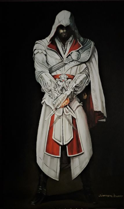 Ezio Auditore - Painting,  19.7x11.8x1.6 in, ©2020 by Simmone Franco -                                                                                                                                                                                                                                                                                                                                                                                                                                                                                                                                                                                          Figurative, figurative-594, Celebrity, Science & Technology, gameart, assassinscreed, ezioauditore, painting, oilpaint, game, portrait, gallery