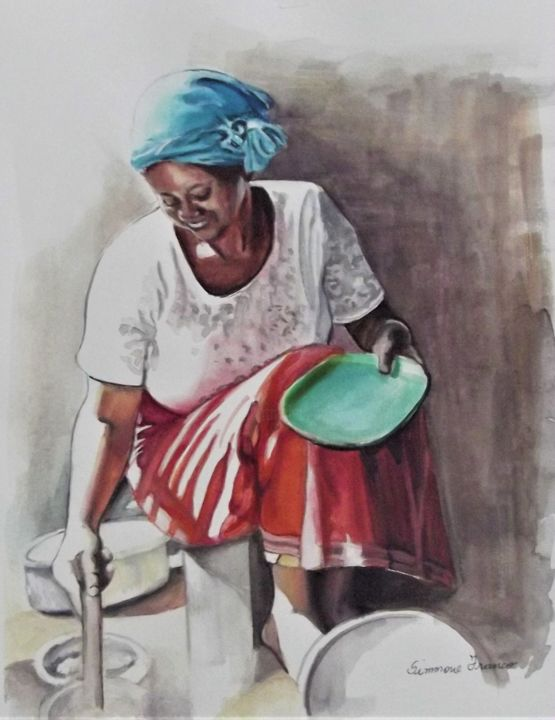 Cozinhando - Painting,  14.2x10.8x0.4 in, ©2020 by Simmone Franco -                                                                                                                                                                                                                                                                                                                                                                                                                                                                                                                                                                                                                                      Figurative, figurative-594, Food & Drink, Home, Cuisine, Women, watercolor, painting, figurative, art, artist, gallery, decoration
