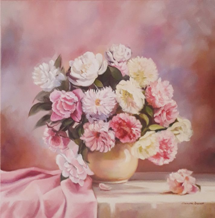 Tudo rosa - Painting,  19.7x19.7x0.4 in, ©2020 by Simmone Franco -                                                                                                                                                                                                                                                                                                                                                                                                                                                                                                                                                                                                                                      Figurative, figurative-594, Flower, Nature, Still life, figutative art, oilpainting, decoration, flowers, pink, rose, gallery, paint