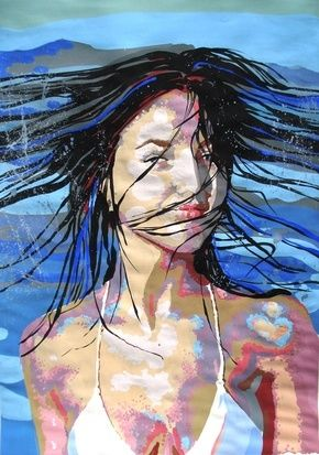 mermaid - Malerei,  27,6x19,7 in, ©2009 von Simona Timofei -                                                              girl coming out of the wather made in wather base colours