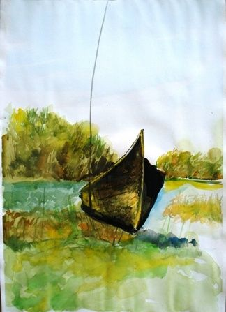 lotca 2 - Malerei,  19,7x13,8 in, ©2009 von Simona Timofei -                                                              landscape with a boat made in wather colours
