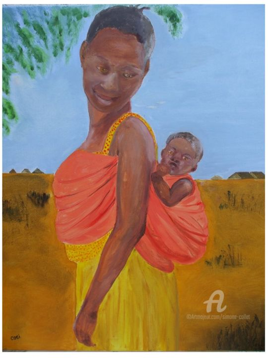 africaine et son enfant - ©  femme, enfant, jaune, orange, rouge, africaine Online Artworks