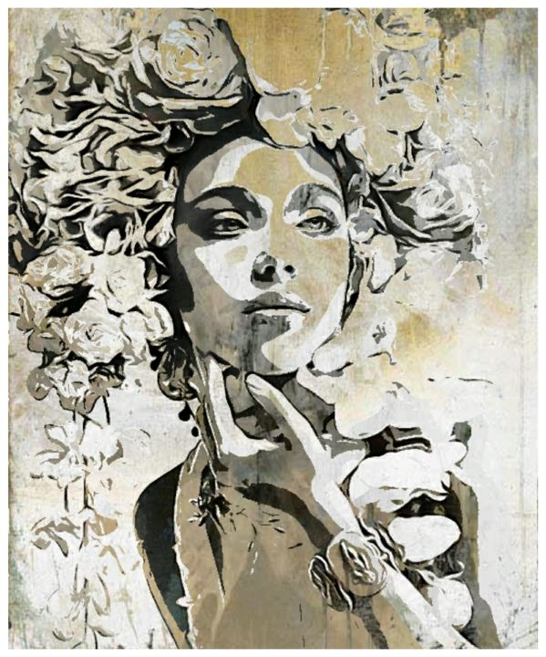 FLORA - © 2018 #face, #flower, #woman, #ritratto, #spring, #autom, #white, #beige, #black, #painting, #print, #art, simonepopart, #popartaristocratica, #chic, #glamours, #classic, #digital, #creativity, #water, #ghost Online Artworks