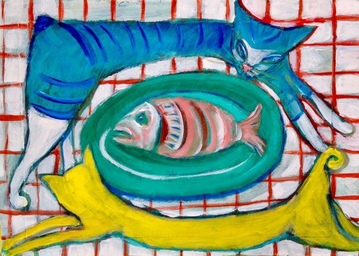 cats/fish - Painting ©2019 by Simon Taylor -            cats, fish