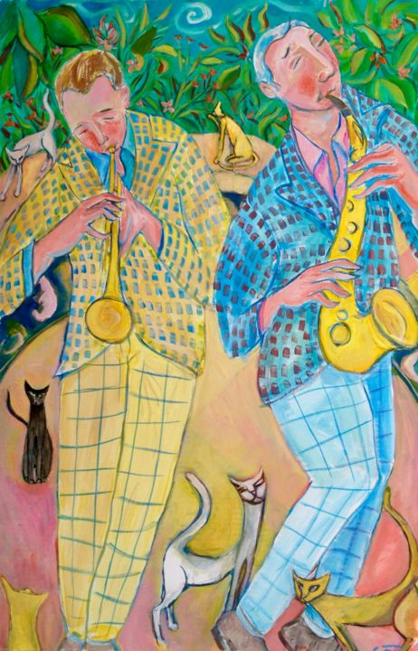 jazz/cats - Painting ©2019 by Simon Taylor -