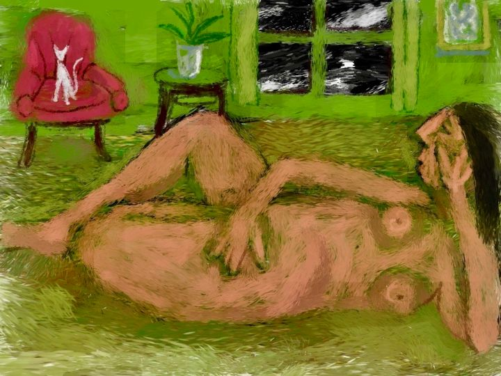 """Digital Arts titled """"red chair"""" by Simon Taylor, Original Art, Digital Painting"""
