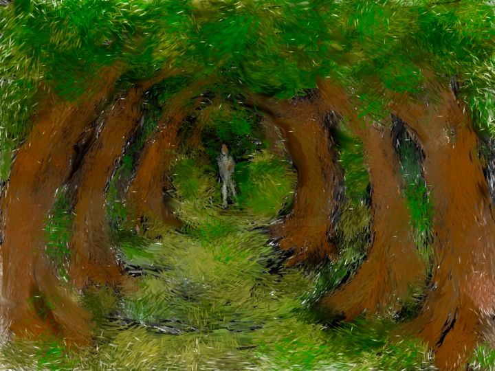 """Digital Arts titled """"walk in forest"""" by Simon Taylor, Original Art, Digital Painting"""