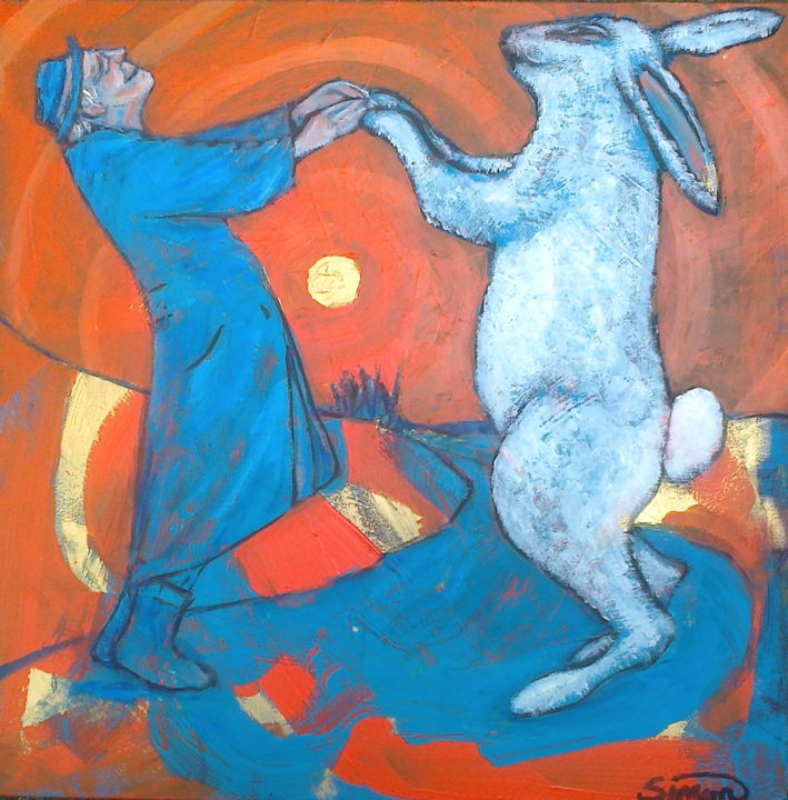 the old man & the rabbit dance - Painting,  40x40 cm ©2016 by Simon Taylor -            old man, rabbit