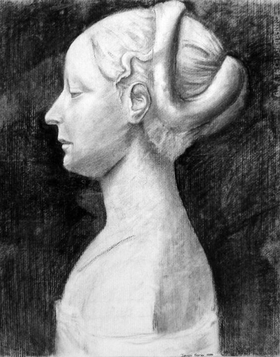 """Drawing titled """"Profil d'une femme"""" by Maria Iacuzzi (SIMPLE ART), Original Art, Charcoal"""