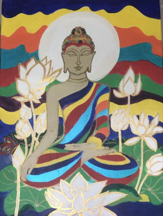 """Painting titled """"Pschedelic Buddha"""" by Simple Mohanty Pani, Original Art, Acrylic Mounted on Stretcher frame"""