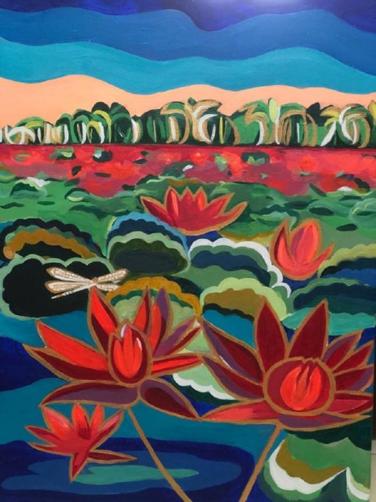 """Painting titled """"Lake of Divine Lili…"""" by Simple Mohanty Pani, Original Art, Acrylic"""