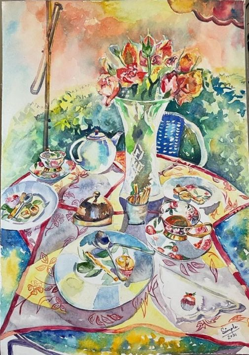 """Painting titled """"Tea-time in the gar…"""" by Simple Mohanty Pani, Original Art, Watercolor"""