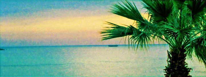sunset (sonnenuntergang) - ©  sunset, palme, sea, sky Online Artworks