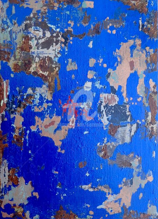 Out of the Blue - Painting,  45.3x32.8 cm ©2019 by Sio Montera -                                        Abstract Art, Canvas