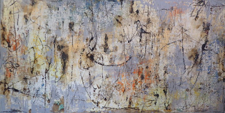 A Jolting Journey To A New Destination - Painting,  48x96x2 in, ©2020 by Sio Montera -                                                                                                                                                                          Abstract, abstract-570, Abstract Art