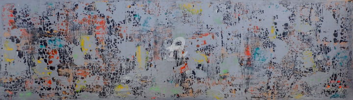 Silence and Stealth - Painting,  24x95.7x2 in, ©2020 by Sio Montera -