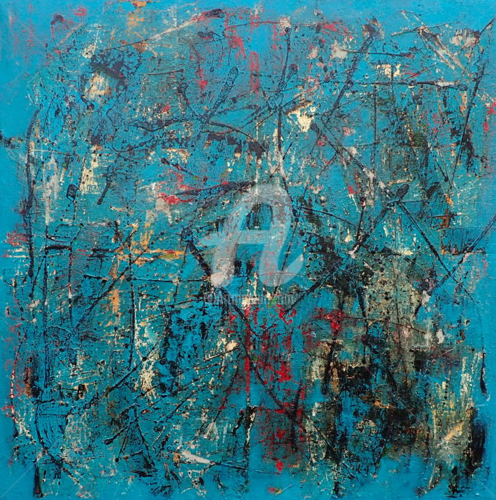 State of Inner Turmoil II - Painting,  60x60x2 in, ©2020 by Sio Montera -                                                                                                                                                                          Abstract, abstract-570, History