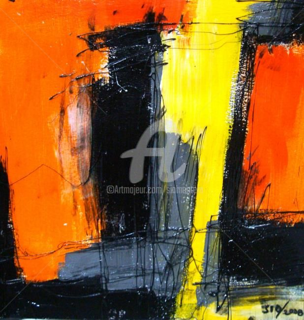 Moment before Anticpation - Painting,  17.3x17.3 in, ©2008 by Sio Montera -