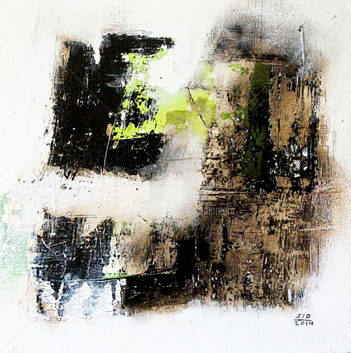 The Wilderness Calls - Painting,  24x2x24 in, ©2014 by Sio Montera -                                                              Abstract Art