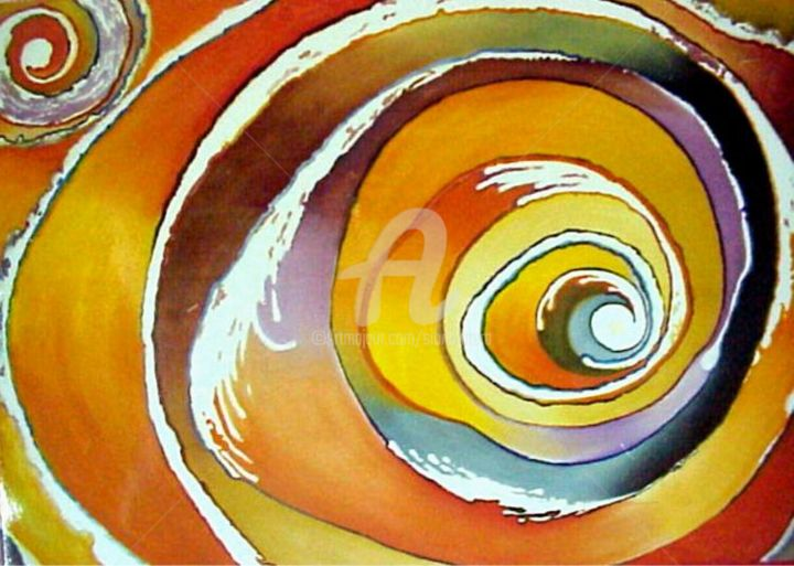 Dream Sunset - Painting,  1.6x2.4 in, ©1998 by Sio Montera -