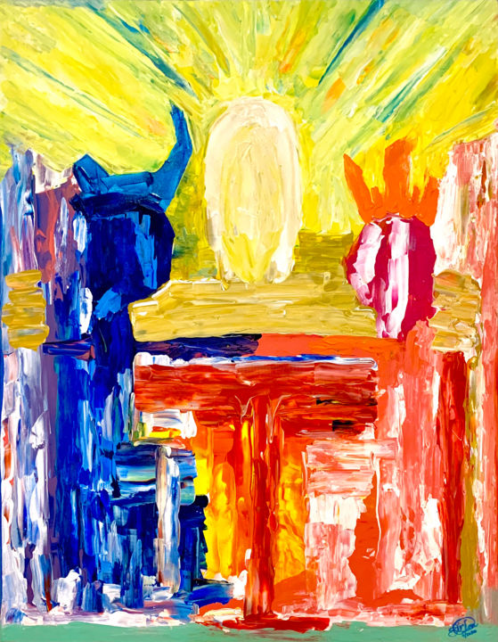 """Painting titled """"Trinity"""" by Sir Don, Original Art, Acrylic"""