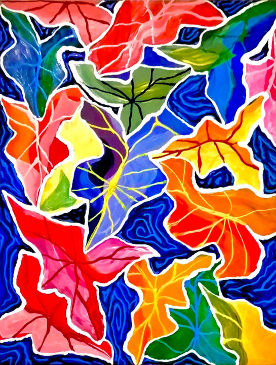 """Painting titled """"Tropical Leaves"""" by Sir Don, Original Art, Acrylic"""