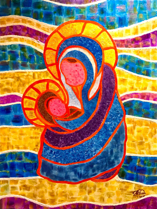 """Painting titled """"Mama Mary and Baby…"""" by Sir Don, Original Art, Acrylic"""