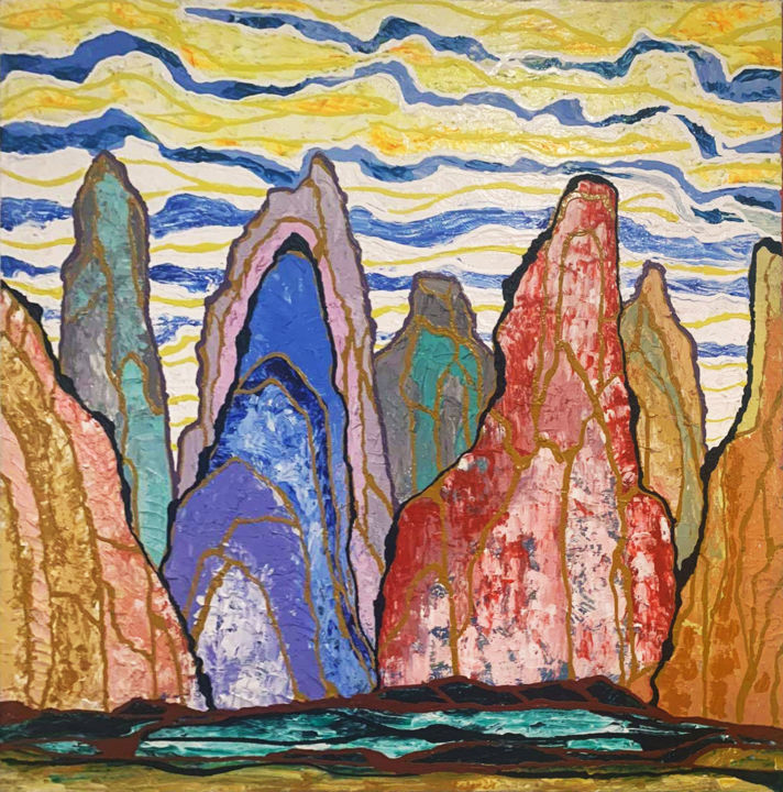 """Painting titled """"The Great Mountains"""" by Sir Don, Original Art, Acrylic"""