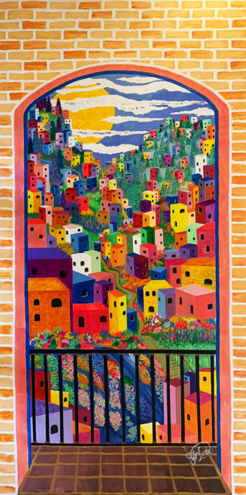 """Painting titled """"Dream Village"""" by Sir Don, Original Art, Acrylic"""