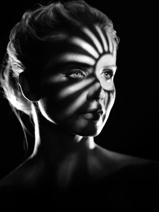 Playing with Shadows 3 - Photography ©2018 by Maksim Zayats -                                        Black and White, Portraits, bw, black and white, shadows, gobo