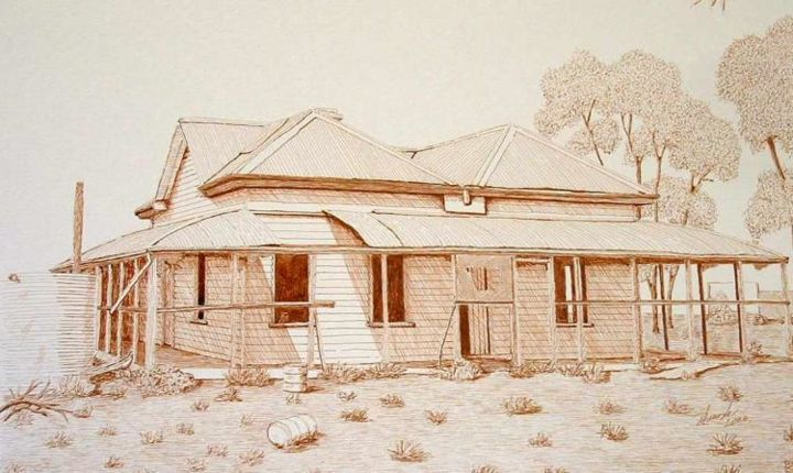 """Drawing titled """"Old Ardoch Homestea…"""" by Outback Sketch Artist, Original Art,"""