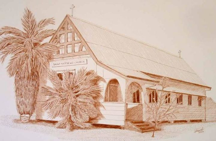 """Drawing titled """"Quilpie church Sout…"""" by Outback Sketch Artist, Original Art, Ink"""