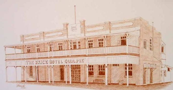 """Drawing titled """"Quilpie Hotel West…"""" by Outback Sketch Artist, Original Art,"""