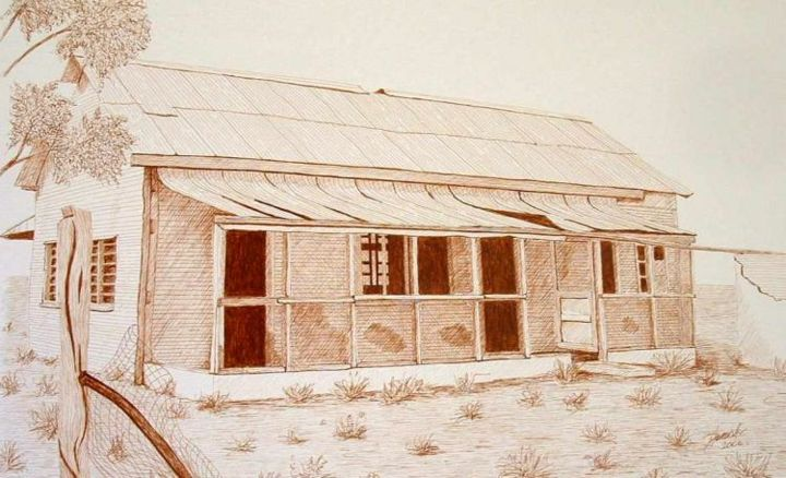 """Drawing titled """"Old Ardoch Quarters…"""" by Outback Sketch Artist, Original Art,"""