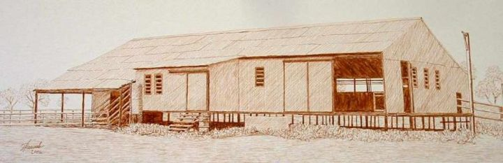 """Drawing titled """"Woolshed South West…"""" by Outback Sketch Artist, Original Art,"""