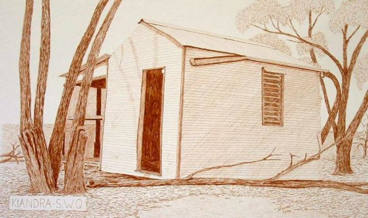 """Drawing titled """"Old Shed South West…"""" by Outback Sketch Artist, Original Art,"""