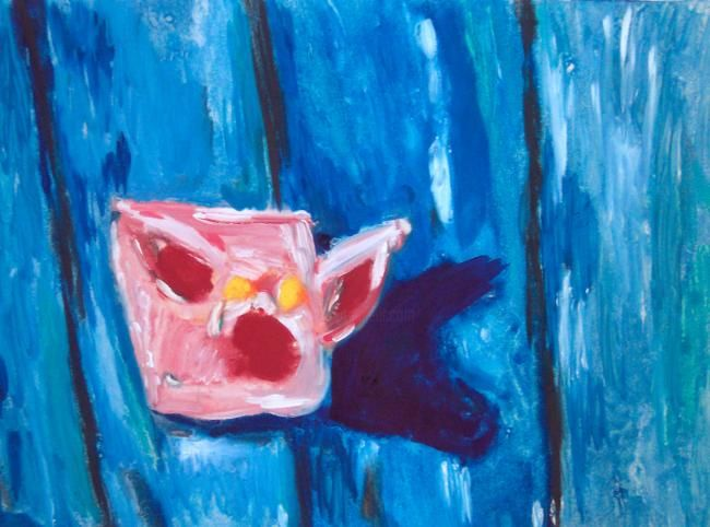 """Painting titled """"PIG HEAD ON FENCE"""" by John Toxey, Original Art,"""