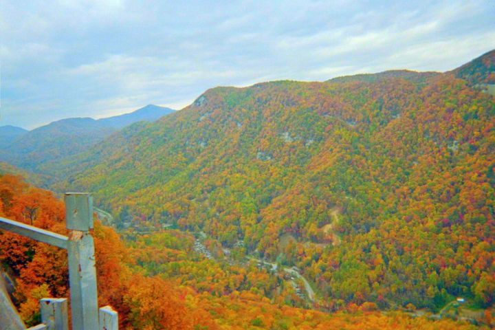 Hiking Through The Mountains - Photography, ©2007 by Skyler -                                                                                                                                                                                                                                                                                                                                                                                                                                                                                                                                                                                                                                                                                                      mountainous area, hiking through mountains, Western North Carolina, hills, mountain scenery, fall colours mountains, red bushes, trees, blue skies, beautiful fall day, Chimney Rock photography, red, brown, blue, white