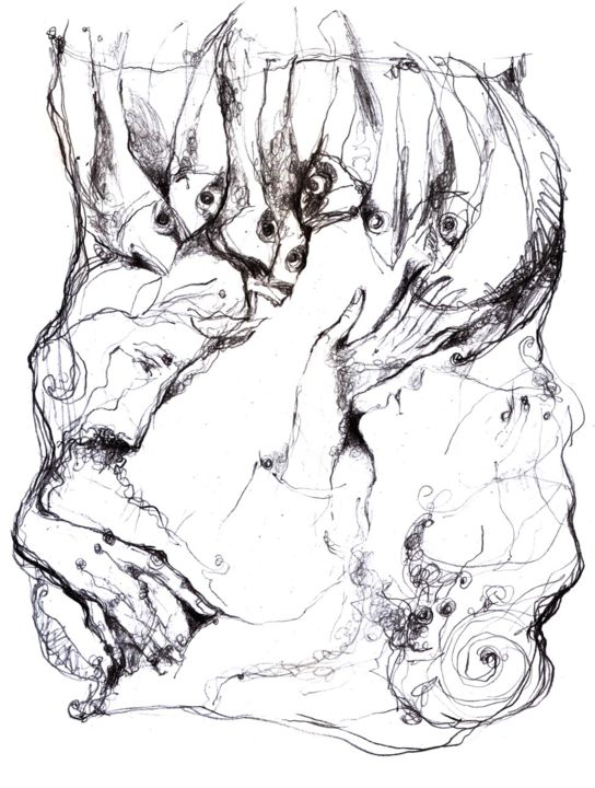 mythological stories-6 - Drawing,  30x21 cm ©2013 by Slav Krivoshiev -            mythological stories
