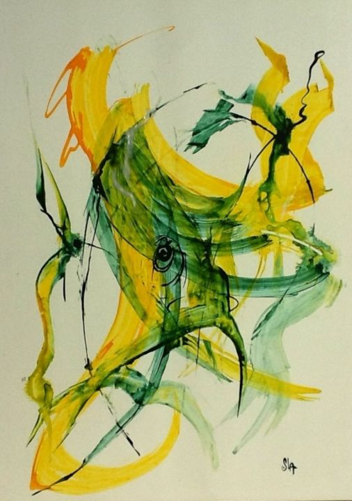 image.jpg - Painting,  27.6x19.7 in, ©2013 by SANDRINE LOPEZ DE ARIAS - SLA -                                                                                                                                                                                                                                                                  Abstract, abstract-570, SLA, peinture, abstrait