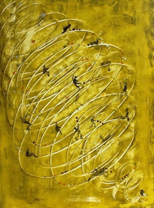 image.jpg - Painting,  27.6x19.7 in, ©2013 by SANDRINE LOPEZ DE ARIAS - SLA -                                                                                                                                                                                                                                                                  Abstract, abstract-570, SLA, encre, abstrait