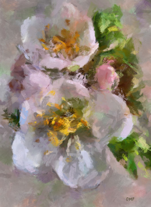 """Painting titled """"Apple Blossoms"""" by Dragica Micki Fortuna, Original Art, Oil"""