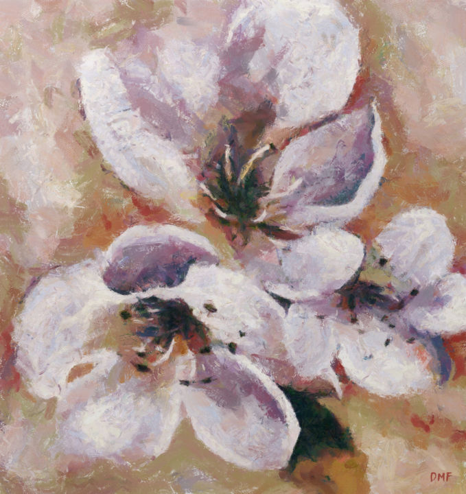 """Painting titled """"Cherry Blossoms"""" by Dragica Micki Fortuna, Original Art, Oil"""